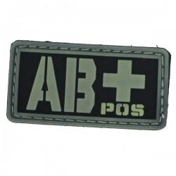 Patch PVC groupe sanguin AB+ fond noir/olive