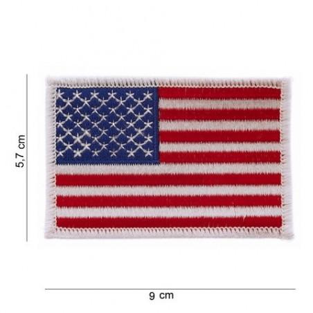 """Patch """" drapeau USA bordure blanche """" (large)"""