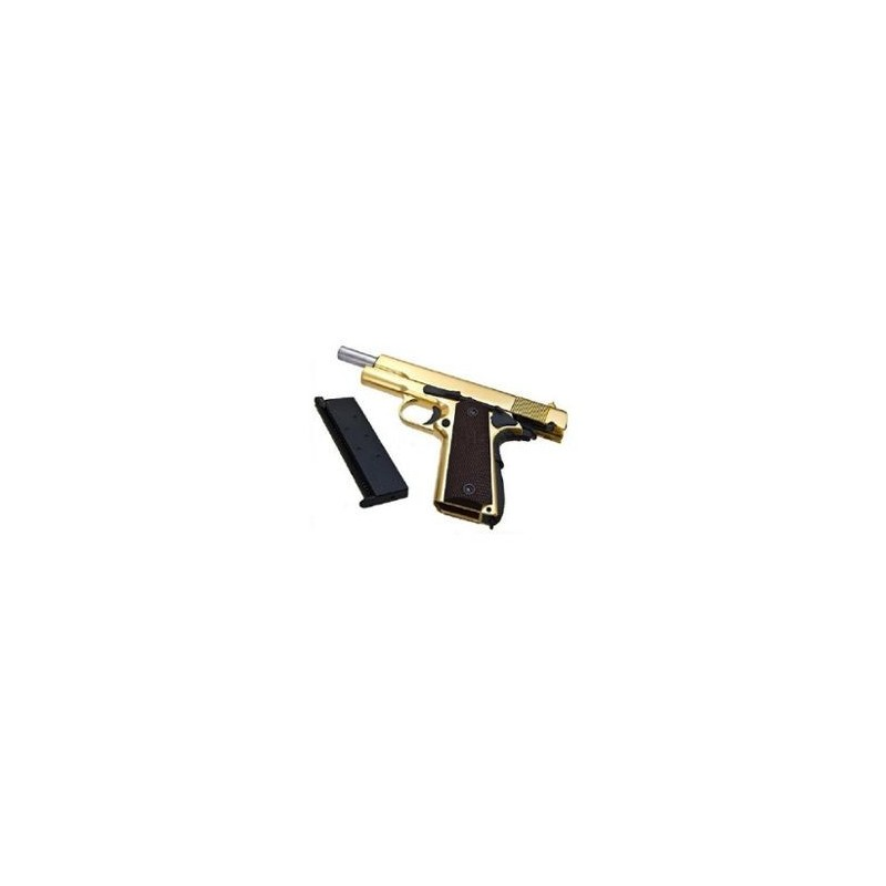 WE Full Metal M1911 GOLD ( Brown Grip w/Marking )